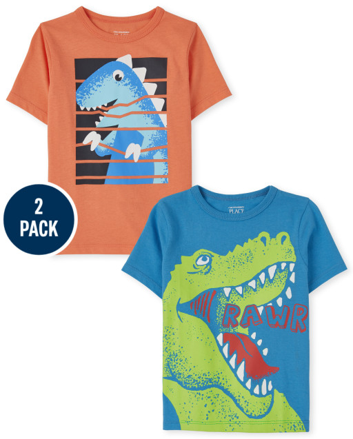 Toddler Boys Short Sleeve 'Rawr' And Dino Graphic Tee 2-Pack