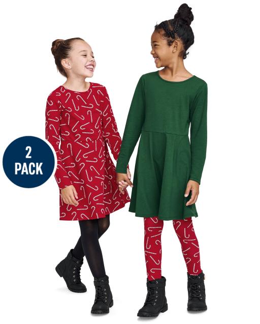 Paquete de 2 vestidos skater de punto navideño de manga larga para niñas