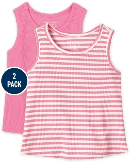 Baby And Toddler Girls Sleeveless Ribbed Tank Top 2-Pack