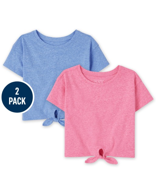 Baby And Toddler Girls Short Sleeve Tie Front Top 2-Pack