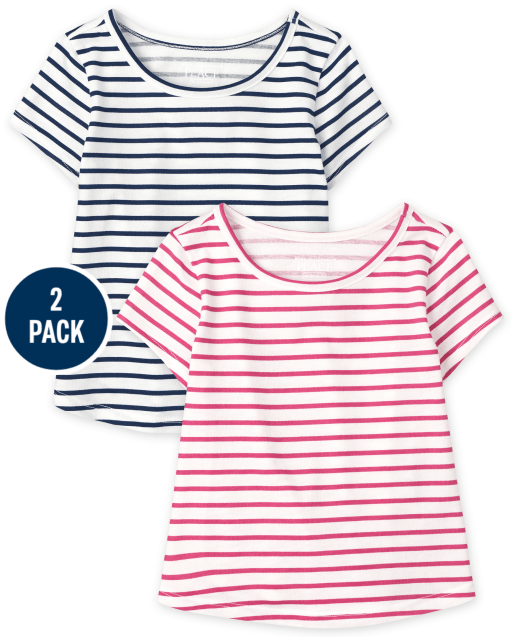Baby And Toddler Girls Short Sleeve Striped Top 2-Pack