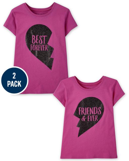 Girls Short Sleeve BFF Graphic Tee 2-Pack