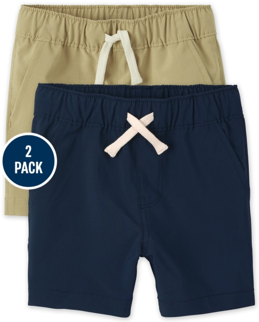 Baby And Toddler Boys Quick Dry Woven Pull On Jogger Shorts 2-Pack