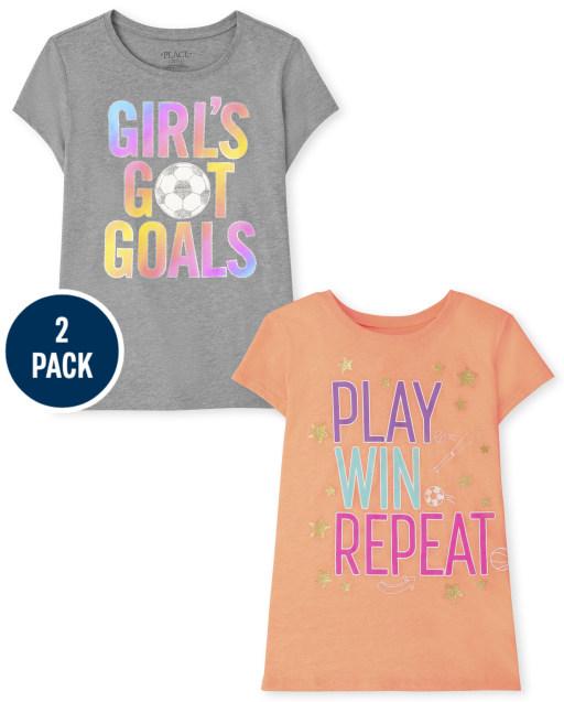 Girls Short Sleeve Sport Graphic Tee 2-Pack