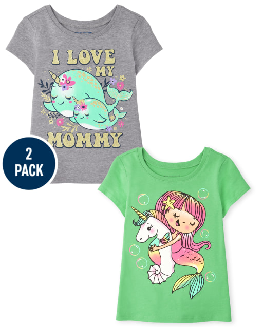 Baby And Toddler Girls Short Sleeve Animal Graphic Tee 2-Pack