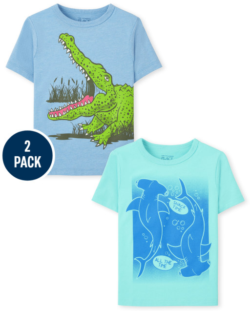 Baby And Toddler Boys Short Sleeve Shark And Crocodile Graphic Tee 2-Pack