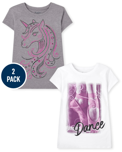 Girls Short Sleeve Unicorn Dance Graphic Tee 2-Pack