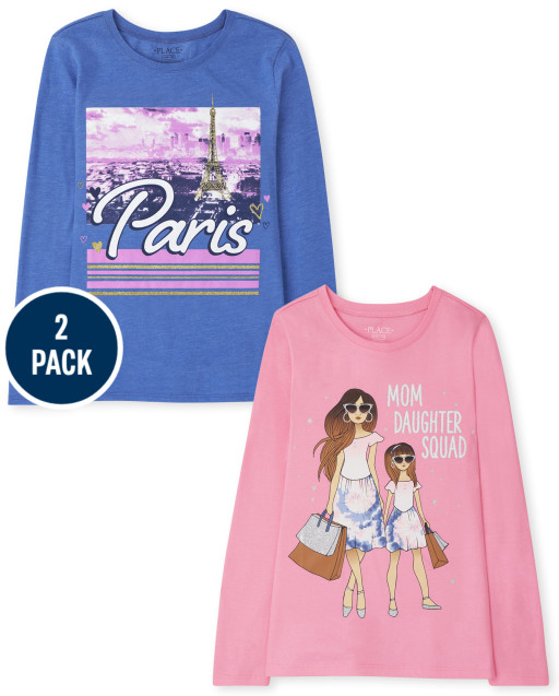 Girls Long Sleeve Paris and Girls Graphic Tee 2-Pack