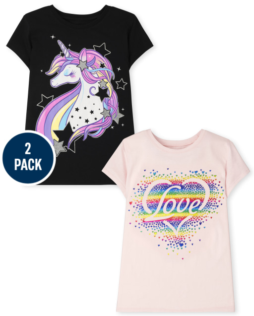 Girls Short Sleeve Unicorn Love Graphic Tee 2-Pack