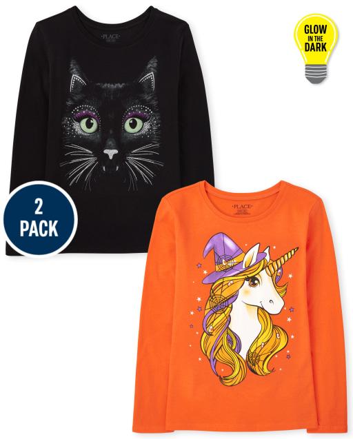 Girls Long Sleeve Halloween Graphic Tee 2-Pack