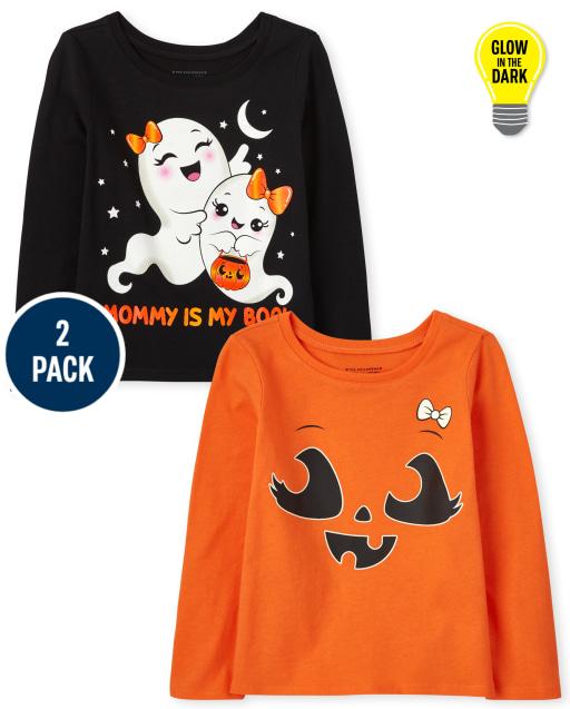 Toddler Girls Long Sleeve Halloween Graphic Tee 2-Pack