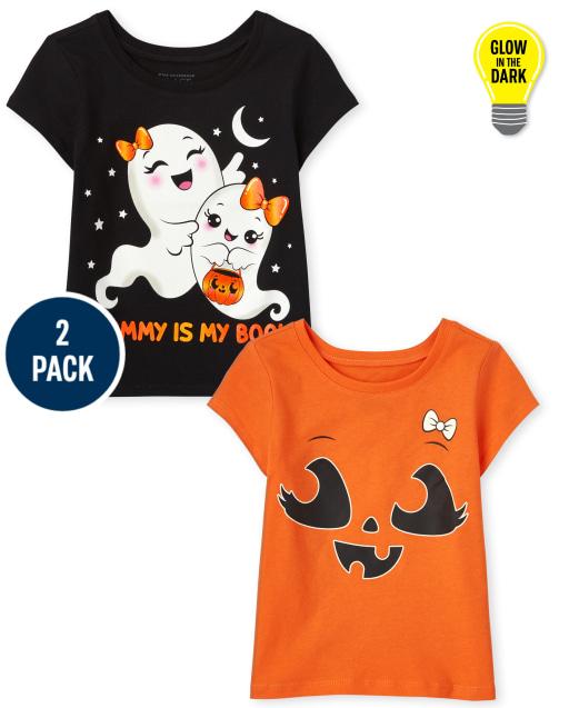 Paquete de 2 camisetas estampadas de Halloween de manga corta para niñas pequeñas