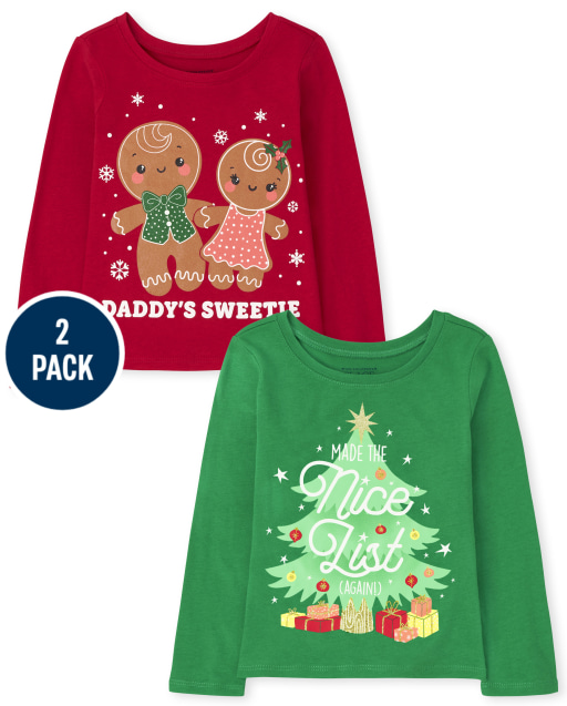 Toddler Girls Long Sleeve Christmas Graphic Tee 2-Pack