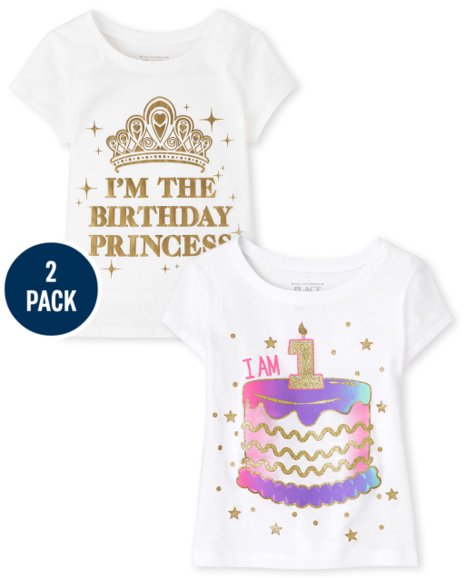 Pack de 2 camisetas estampadas de manga corta para el primer cumpleaños para niñas pequeñas