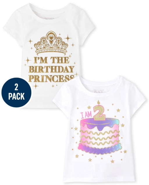 Paquete de 2 camisetas con gráfico de segundo cumpleaños de manga corta para niñas pequeñas