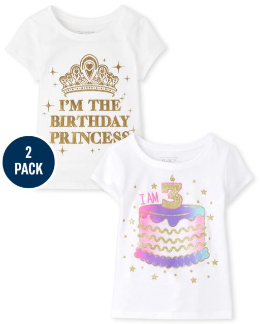 Paquete de 2 camisetas estampadas de manga corta para el tercer cumpleaños para niñas pequeñas