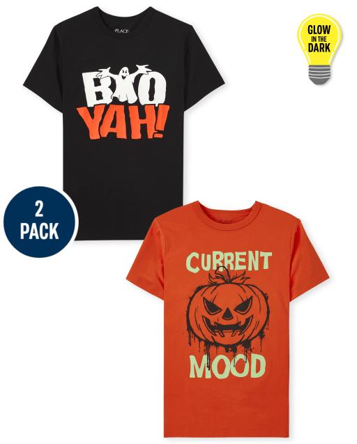 Boys Short Sleeve Halloween Graphic Tee 2-Pack