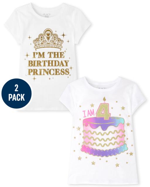 Girls Short Sleeve 4th Birthday Graphic Tee 2-Pack