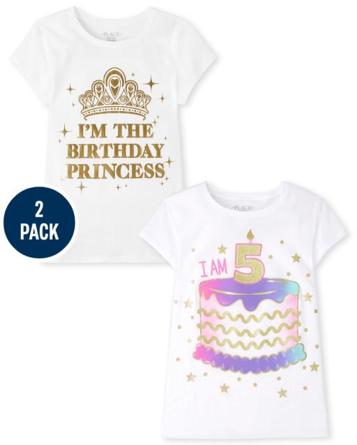 Girls Short Sleeve 5th Birthday Graphic Tee 2-Pack