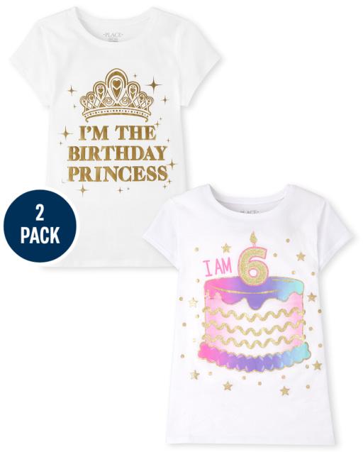 Girls Short Sleeve 6th Birthday Graphic Tee 2-Pack