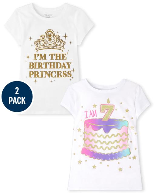 Girls Short Sleeve 7th Birthday Graphic Tee 2-Pack