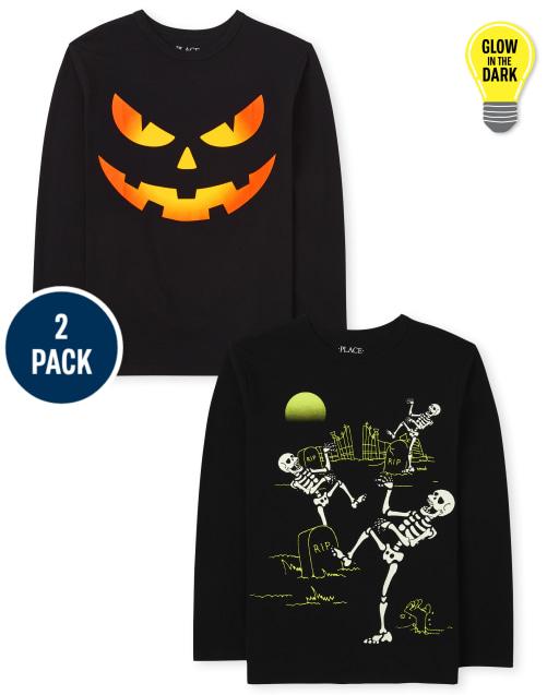 Boys Long Sleeve Halloween Graphic Tee 2-Pack