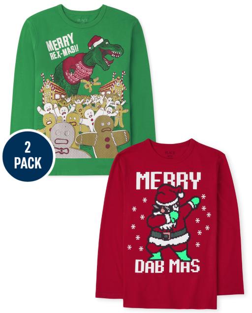 Boys Long Sleeve Christmas Graphic Tee 2-Pack