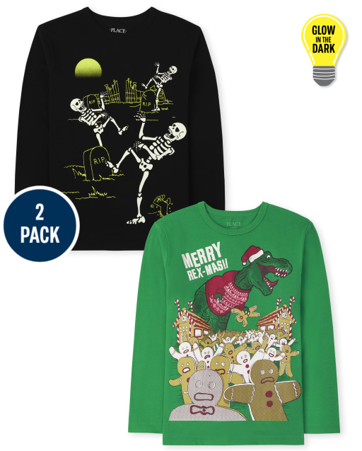 Boys Long Sleeve Holiday Graphic Tee 2-Pack