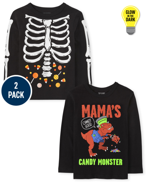 Toddler Boys Long Sleeve Halloween Graphic Tee 2-Pack