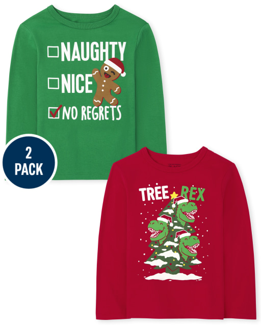 Toddler Boys Long Sleeve Christmas Graphic Tee 2-Pack
