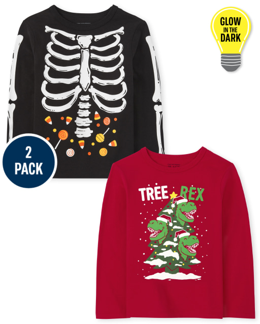 Toddler Boys Long Sleeve Holiday Graphic Tee 2-Pack