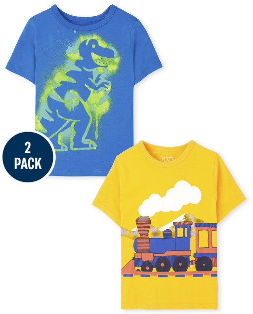 Toddler Boys Short Sleeve Dino and Vehicle Graphic Tee 2-Pack