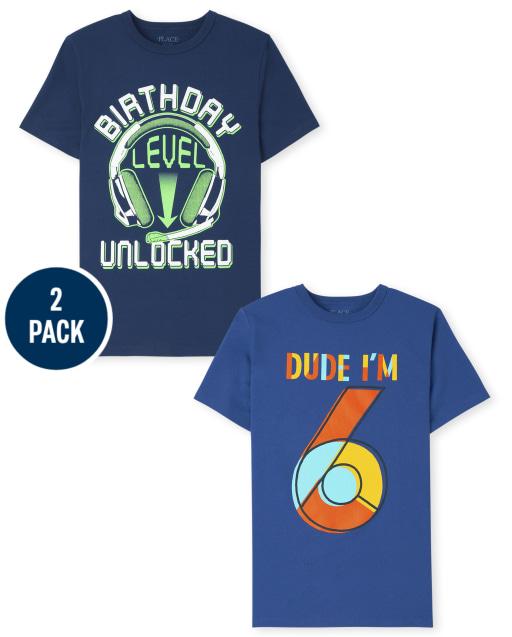 Boys Short Sleeve 6th Birthday Graphic Tee 2-Pack