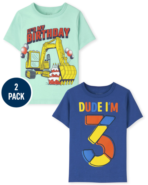 Toddler Boys Short Sleeve 3rd Birthday Graphic Tee 2-Pack