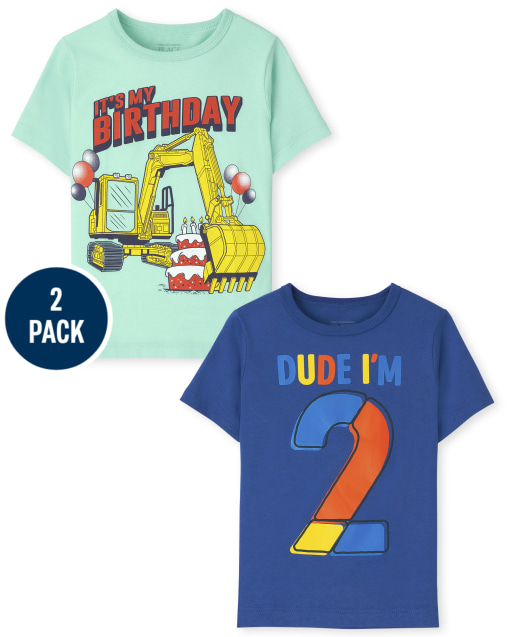 Toddler Boys Short Sleeve 2nd Birthday Graphic Tee 2-Pack