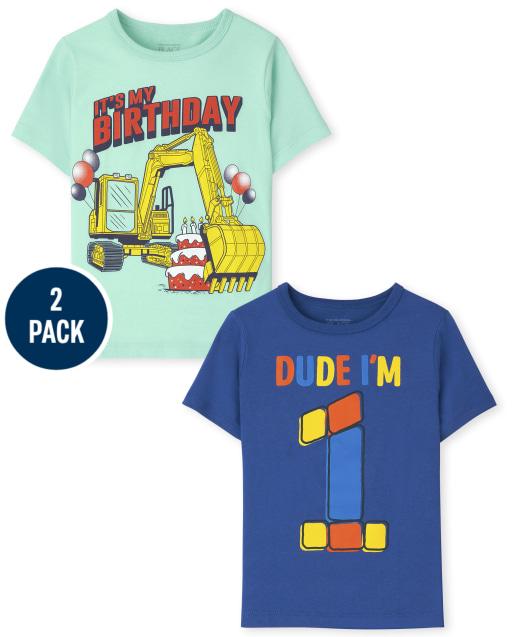 Toddler Boys Short Sleeve 1st Birthday Graphic Tee 2-Pack