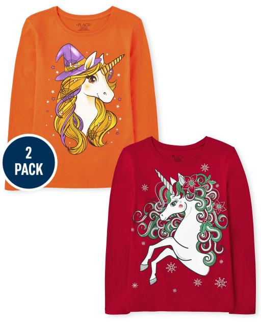 Girls Long Sleeve Holiday Unicorn Graphic Tee 2-Pack