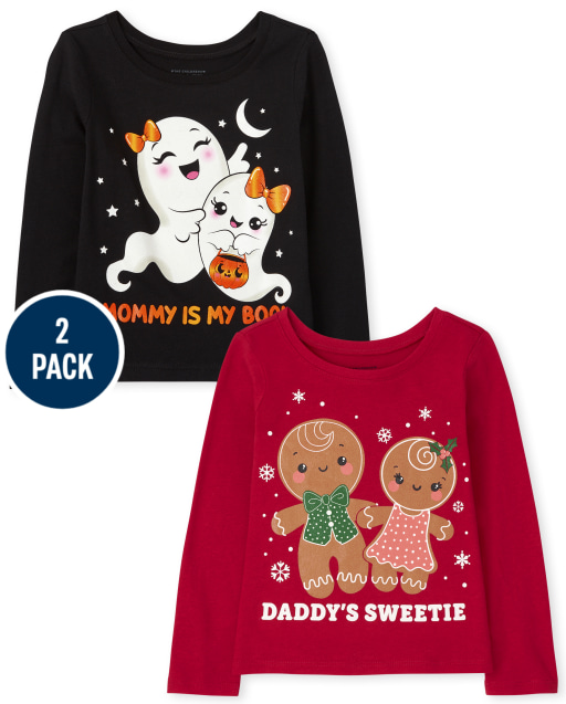Toddler Girls Long Sleeve Holiday Graphic Tee 2-Pack