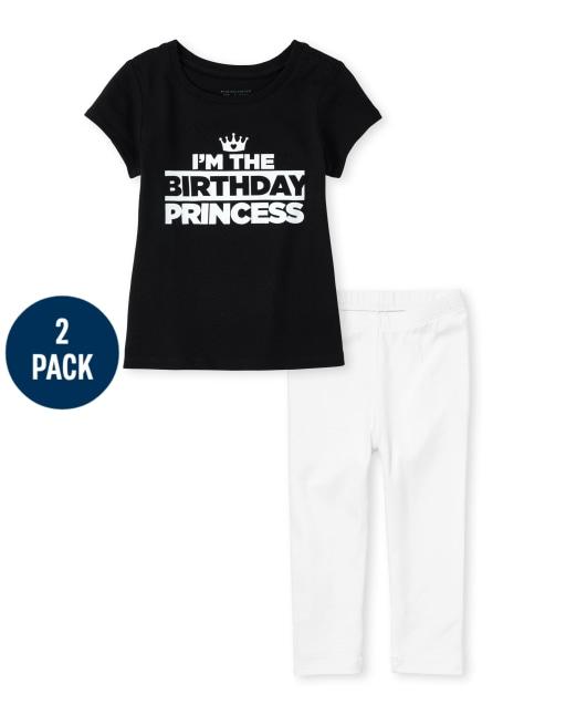 Conjunto de 2 piezas de camiseta y leggings con estampado de cumpleaños de manga corta para niñas pequeñas