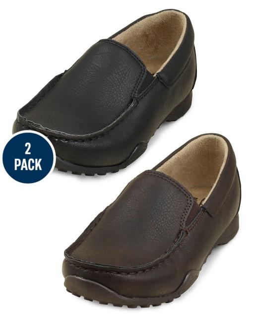 Paquete de 2 zapatos de vestir sin cordones de uniforme para niños