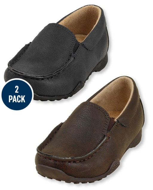 Toddler Boys Uniform Slip On Dress Shoes 2-Pack