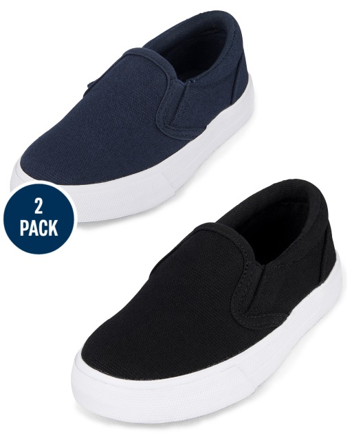 Toddler Boys Uniform Canvas Slip On Sneakers 2-Pack