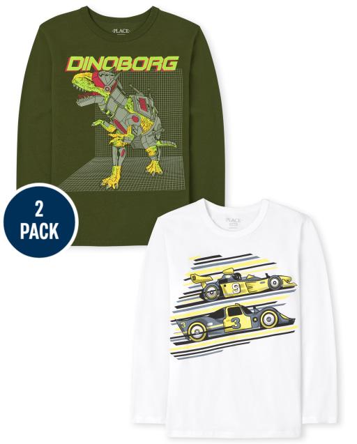 Boys Long Sleeve Dino And Racecar Graphic Tee 2-Pack
