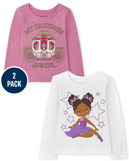 Toddler Girls Long Sleeve Princess And Ballerina Graphic Tee 2-Pack