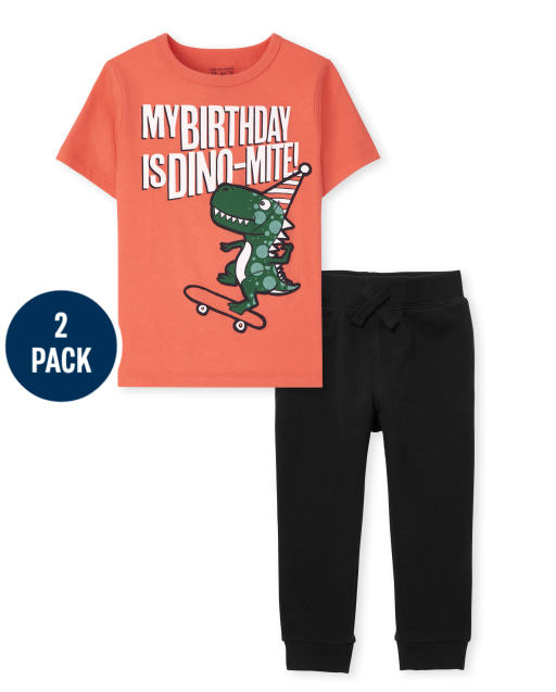 Toddler Boys Short Sleeve Birthday Dino Graphic Tee And Fleece Jogger Pants 2-Piece Set