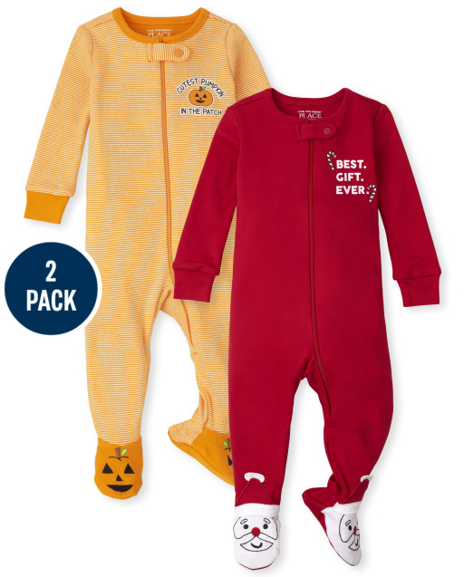 Unisex Baby And Toddler Holiday Snug Fit Cotton One Piece Pajamas 2-Piece Set