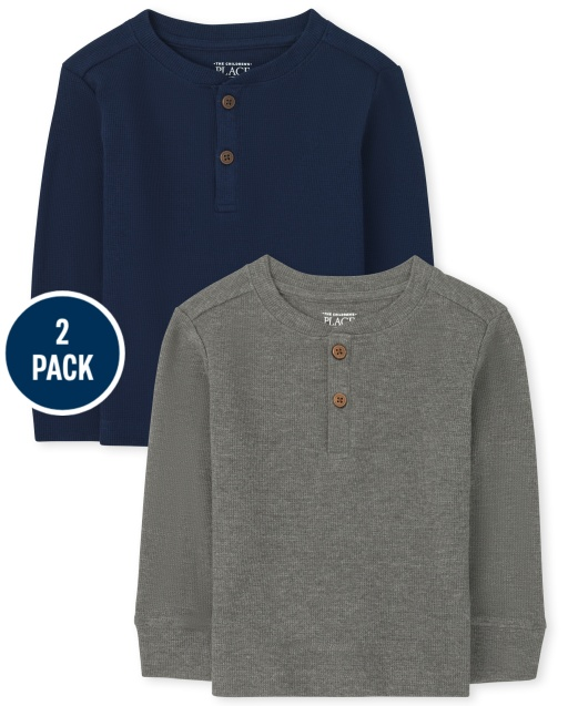 Toddler Boys Long Sleeve Thermal Henley Top 2-Pack