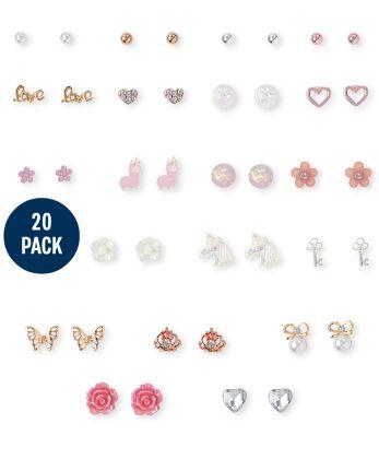 Girls Sparkle Earrings 20-Pack