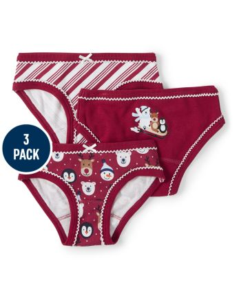 Girls Christmas Briefs 3-Pack