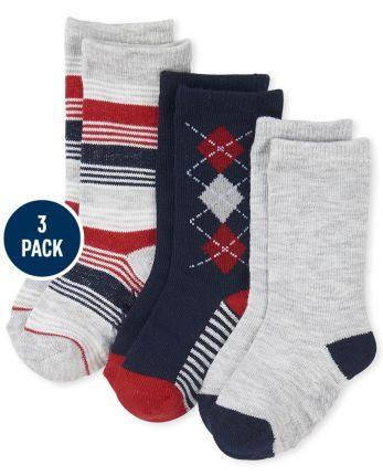 Baby And Toddler Boys Uniform Argyle Crew Socks 3-Pack